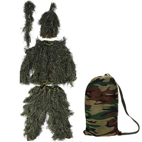 Zerone Ghillie Suit 3D Traje de Camuflaje, Disfraz de Caza de Camuflaje Adulto Observación de Aves al Aire Libre Fotografía