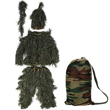 Zerone Ghillie Suit 3D Traje de Camuflaje, Disfraz de Caza de Camuflaje Adulto Observación de Aves al Aire Libre Fotografía: Amazon.es: Deportes y aire ...