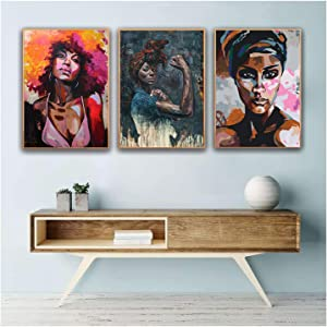 Ecyanlv African Black Woman Painting/Afro Woman Painting On Canvas/Abstract Pop Black Art African American/Black Girl Artwork for Home Walls Decor 20x28 Inchx3 No Frame