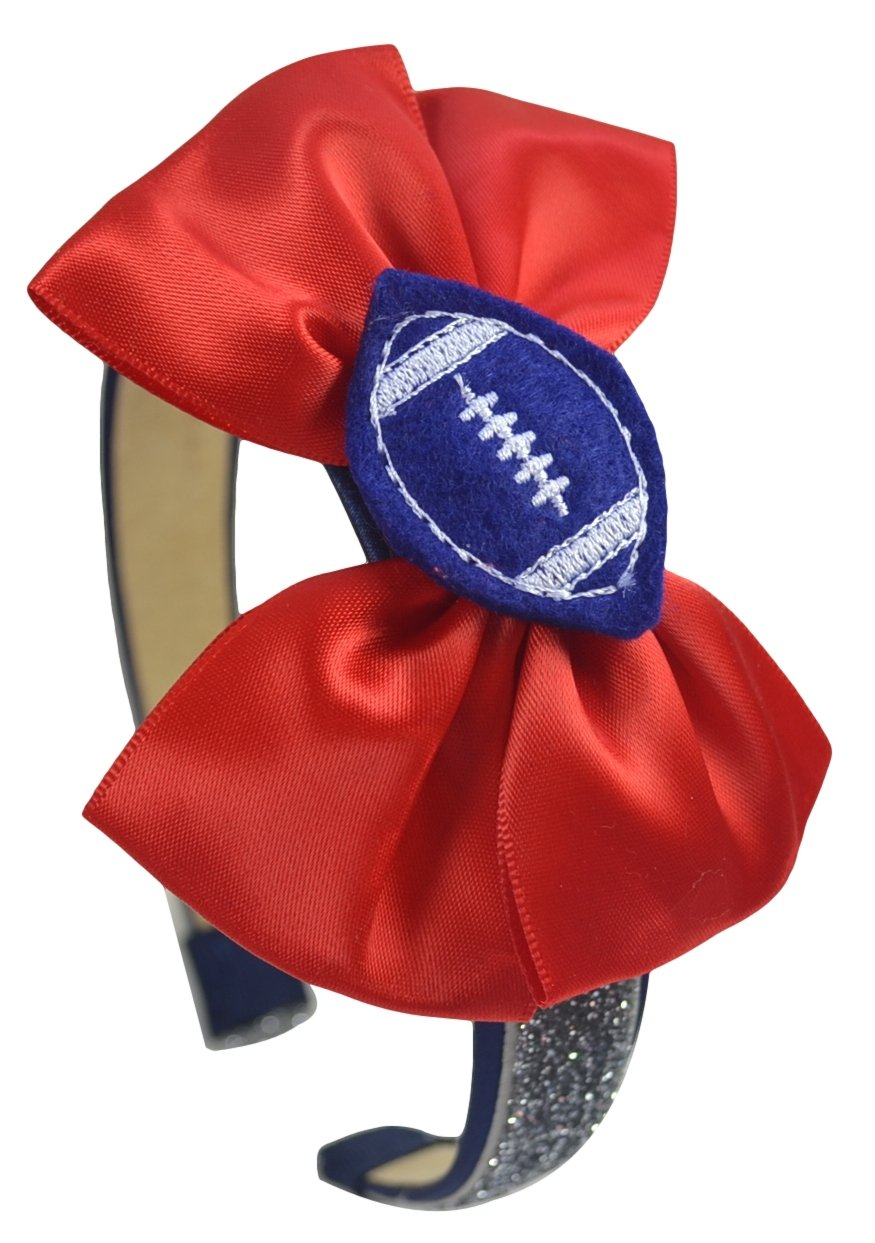 Football Fan Satin Bow Arch Headband for Girls (Navy and Silver Glitter Band / Red Bow / Blue Ball)