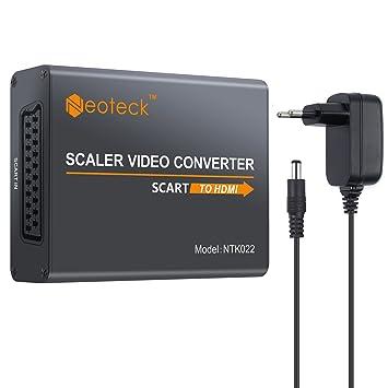 Neoteck Convertidor SCART a HDMI 1080P Adaptador + 3.5mm Auricular Adaptador de Audio Video Estéreo