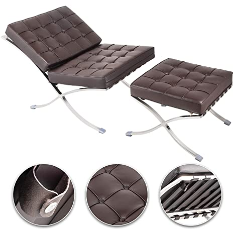 Fantastic Happybuy Barcelona Style Lounge Chair And Ottoman Set Pu Leather Mid Century Modern Classic Cushioned Luxury Replica Leisure Lounge Chair With Gmtry Best Dining Table And Chair Ideas Images Gmtryco