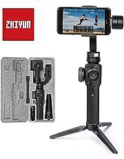 Zhiyun Smooth 4 (Última Versión) Estabilizador para Moviles, 3 Ejes Estabilizador Gimbal para Smartphone hasta 210g, Gimbal Movil Gimbal para Smartphone y Gopro, Color Negro