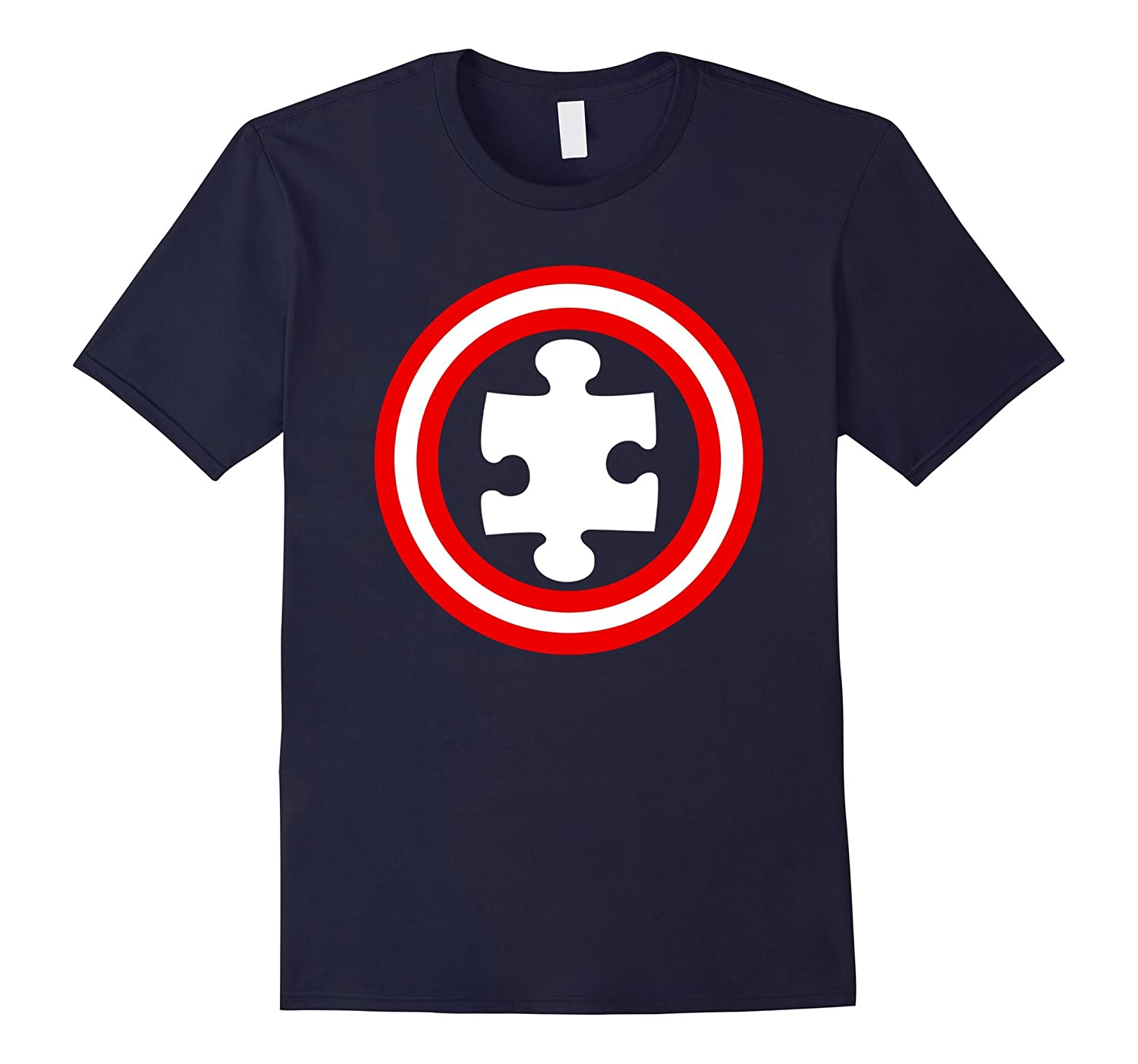 America Autism Superhero Captain Jigsaw Puzzle Funny T-Shirt-TH