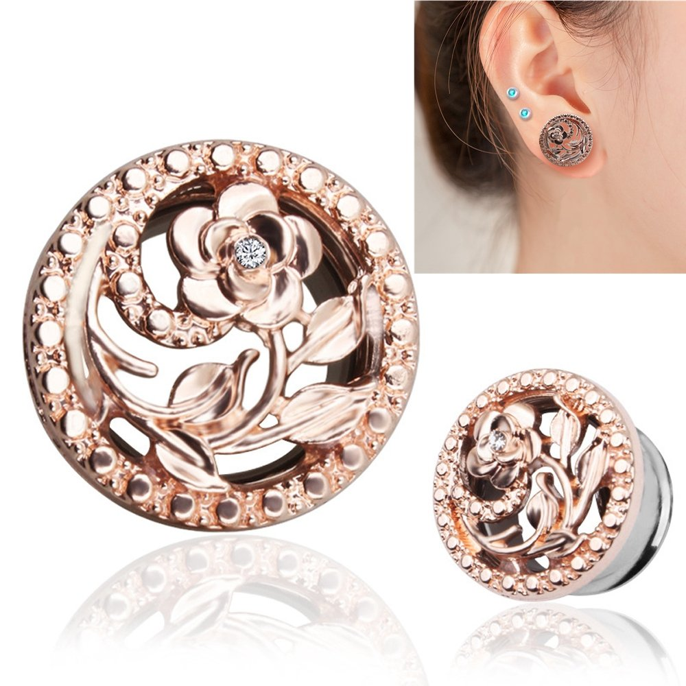 BODYA Unisex Stainless Steel Ear Tunnels Round Plugs with Hollow Flower Silver and Gold Piercing Jewelry, Two Pairs/4Pcs (Gauage:2g(8mm)) by BODYA (Image #1)