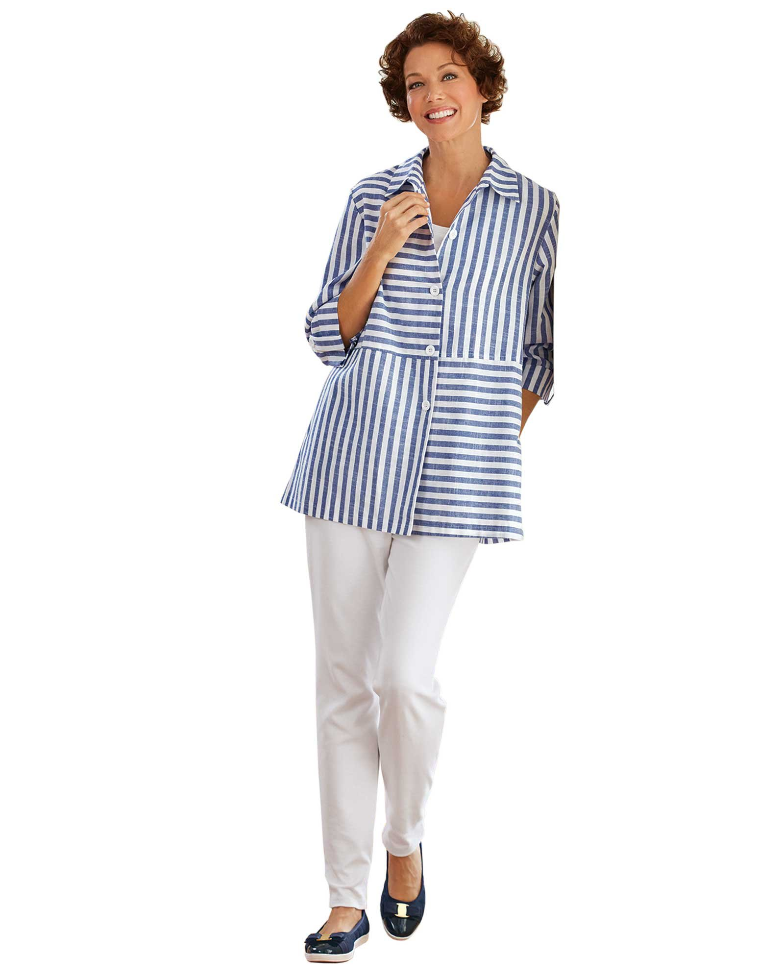 National Striped Shirt Jacket, Blue Stripe, Large