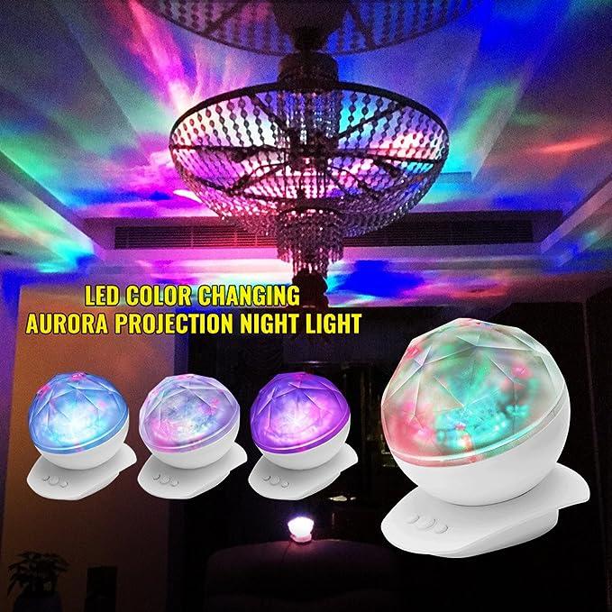 SOLMORE - Proyector LED de aurora boreal RGB, altavoz integrado ...