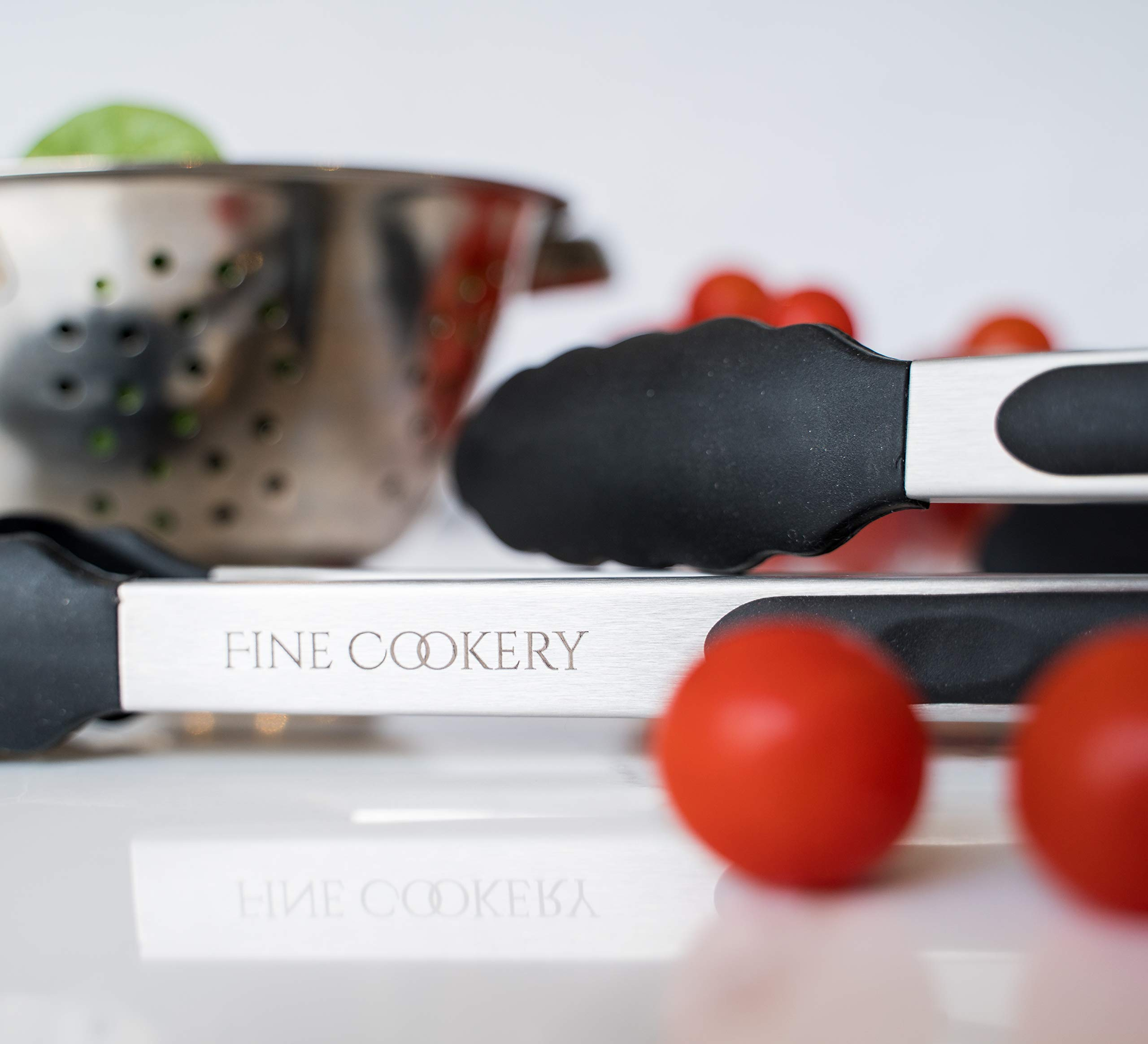 """Fine Cookery Premium Kitchen Tongs set of 3: 7,9,12 inch,for Cooking