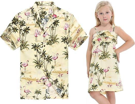 Hecho en Hawaii a Juego Padre Hija Hija Luau Camisa Chica Volante Vestido en Flamenco Crema: Amazon.es: Ropa y accesorios