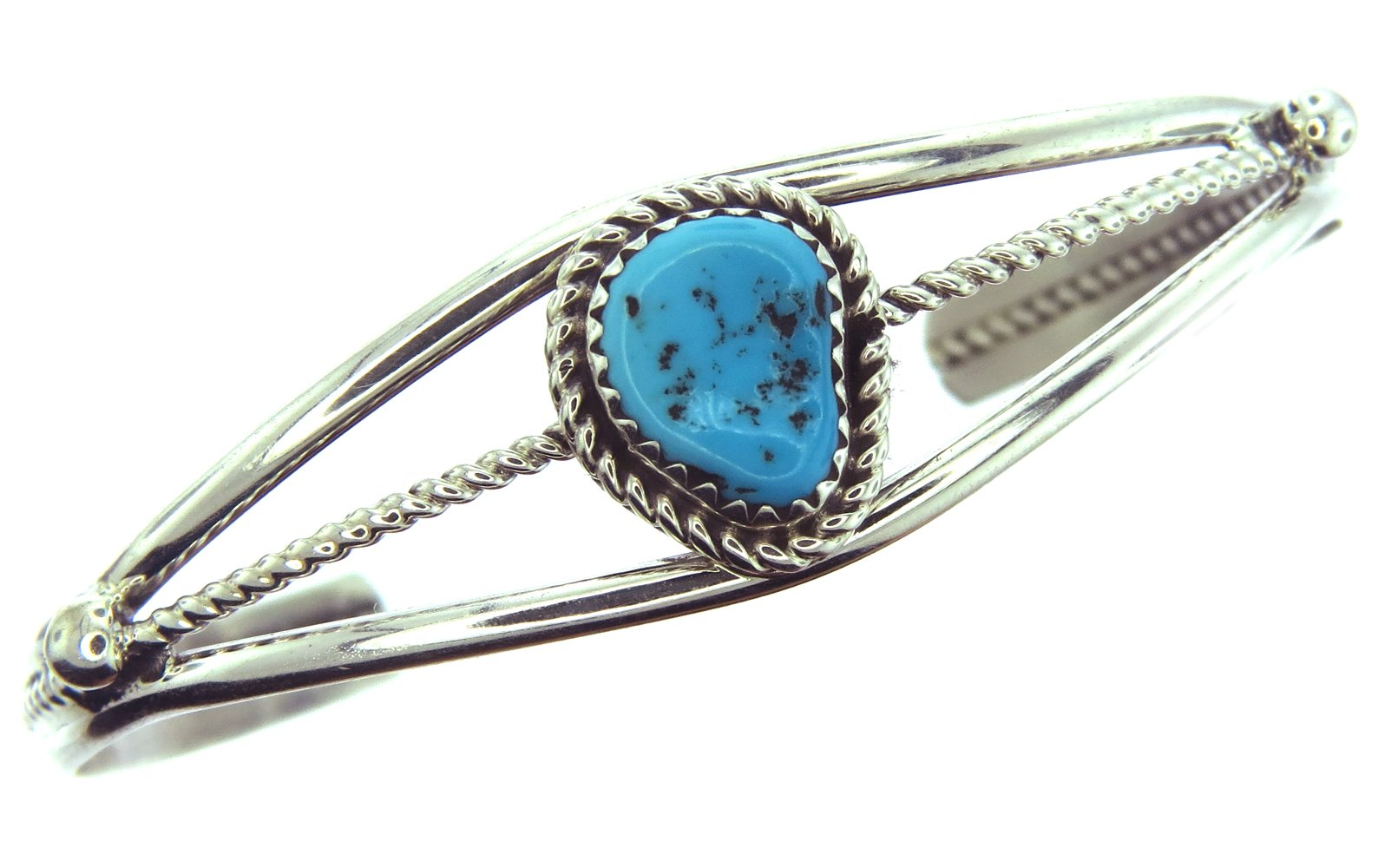 By Navajo Artist Alice Johnson: Sterling-silver Natural Sleeping Beauty Turquoise Womens Bracelet