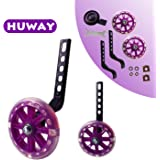HUWAY Training Wheels Flash Mute Wheel Bicycle stabiliser Mounted Kit Compatible for Bikes of 12 14 16 18 20 Inch, 1 Pair