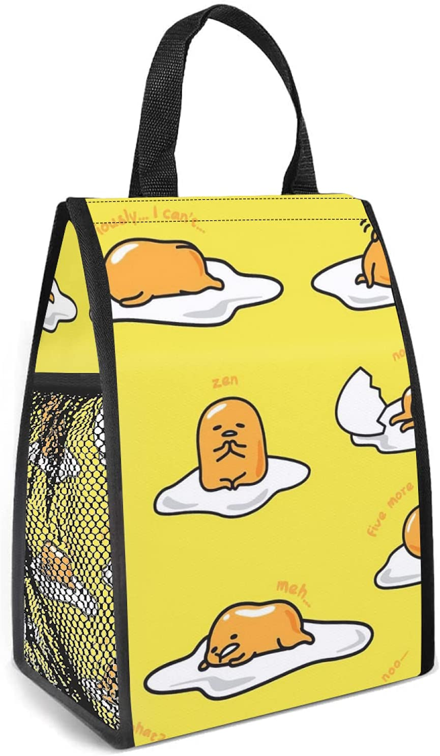 Love fled Gudetama Coffee Lunch Bag Women & Men Tote Insulated Cooler Bag, Portable Lunch Box Container, Resistant Thermal Food Bags for Work, Picnic, Travel, School. One Size