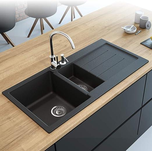 Black Kitchen Sink Lavello Decoro 150LT 39\
