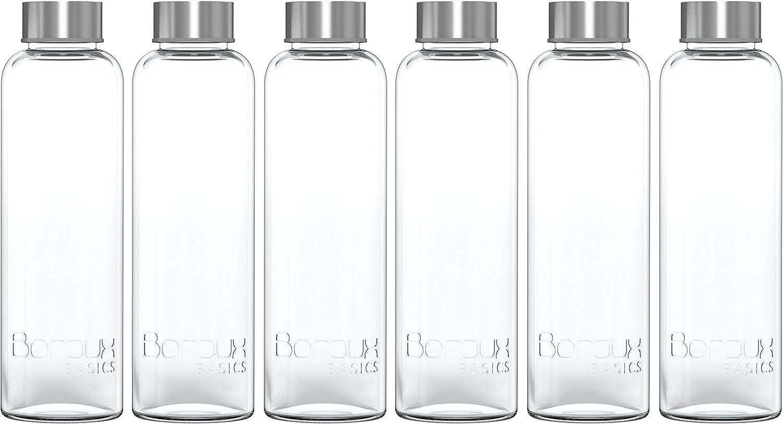 Boroux Basics Reusable Glass Water Bottles BPA//BPS Chemical Free Kombucha Great for Water Juice Leak Proof Stainless Steel Cap Premium Soda Lime Glass 18 oz 6 Pack of Reusable Drinking Bottles