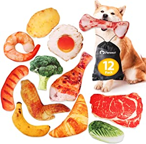 Peteast Dog Squeaky Toys, Plush Dog Toy Pack, Stuffed Puppy Chew Toys 12 Dog Toys Bulk with Squeakers, Soft Food Shape Pet Toy for Small Medium Dogs (12 Pack)