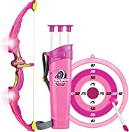 Click N' Play Pink Light Up Bow and Arrow Archery Set for Girls Outdoor Hunting Play with 3 Suction Cups Arrows Target and Q