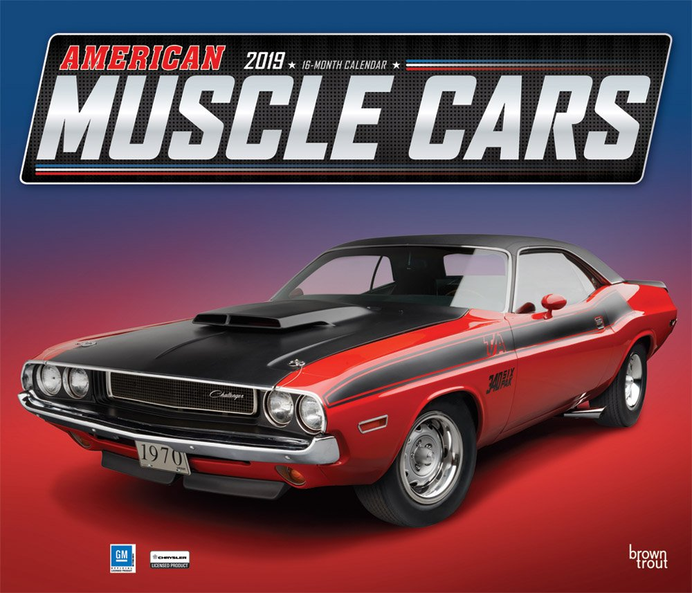 American Muscle Cars 2019 12 x 14 Inch Monthly Deluxe Wall Calendar with Foil Stamped Cover, Racing Ford Chevrolet Chrysler Oldsmobile Pontiac (English, French and Spanish Edition) by BrownTrout Publishers