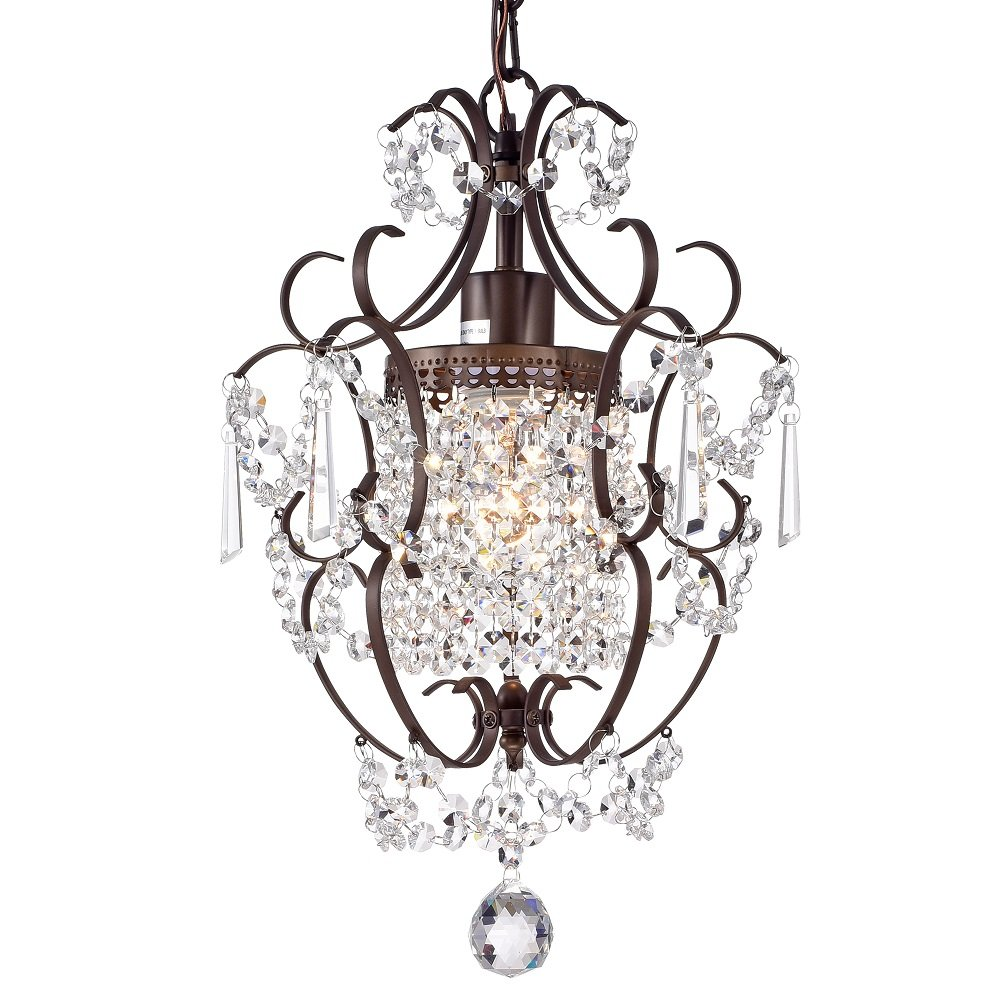 LaLuLa Bronze Chandelier Lighting with Crystals 1 Light for Bathroom Dining Room Hallway Y01