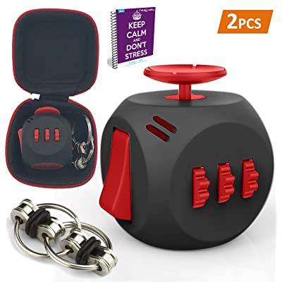 fabquality Fidget Cube DICE 6 Sides Fidget Toys Cube Relieves Stress and Anxiety Cube for Children and Adults+ + Steel Flipping Chain + Gift Case Box with ADHD ADD OCD Autism: Toys & Games