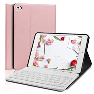 Keyboard Case for iPad Mini 5 - iPad Mini 4 - Detachable Keyboard - Magnetic Design - PU Leather - Soft Rubber Case - iPad Mini 5 Case with Keyboard (Rose Gold, Mini 5)