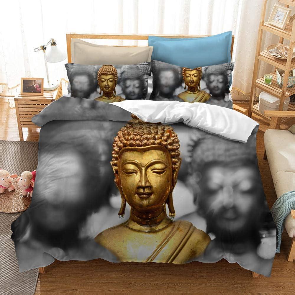 DXSX Housse de Couette Sets Vintage Oriental Bouddhisme Culture Zen Cr/éatif Statue de Bouddha Impression Literie 1 Housse de Couette et 1 taie doreiller Ensemble Bouddha 01, 140x200 cm