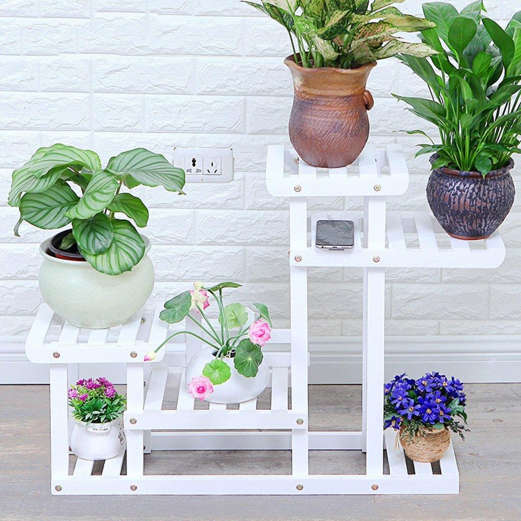 Macetas para flores / Soporte de flores blancas Piso de madera ...