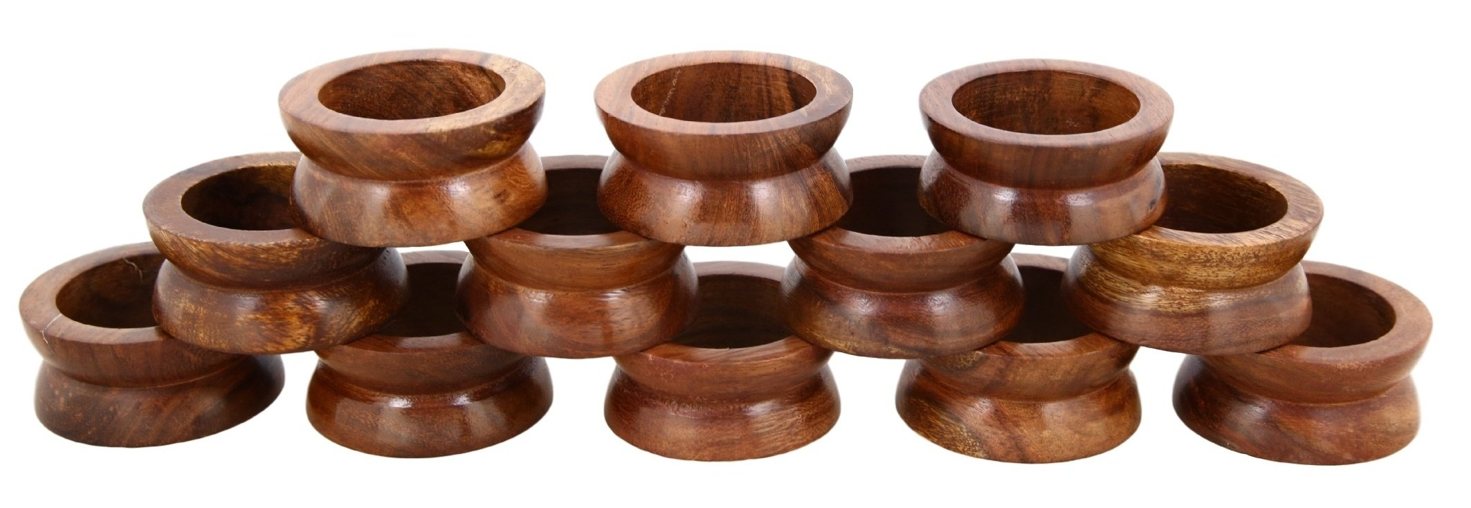 Shalinindia Handmade Wedding Party Decorations Wood Napkin Rings Set of 12 for Dinner Ideas