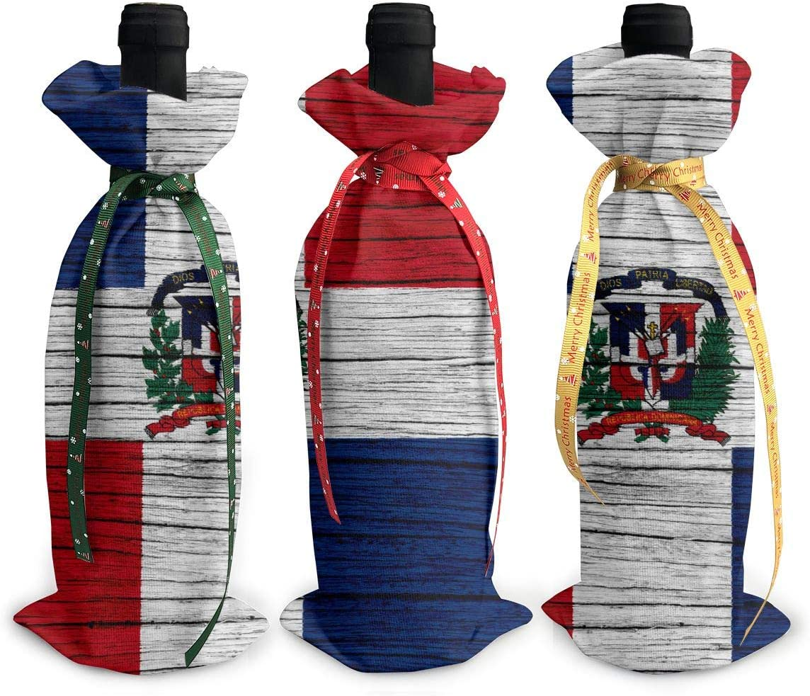 NBteach South Africa Wooden Texture South African Flag 3pcs Christmas Xmas Red Wine Glass Bottle Wraps Cover Bag Decorations Ornaments Theme Tasting Charms Accessories Gifts Set