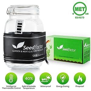 "MET Certified Seedling Heat Mat, Seedfactor Waterproof Durable Germination Station Heat Mat, Warm Hydroponic Heating Pad for Indoor Home Gardening Seed Starter(3.5"" X 21"")"