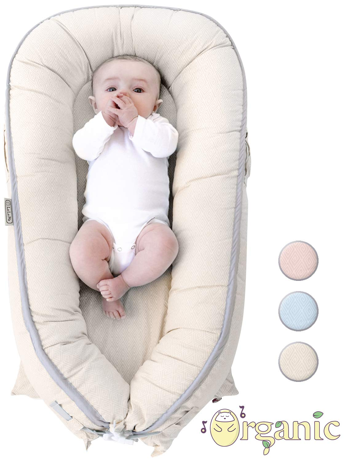Organic Newborn Lounger | Baby Nest | Portable Snuggle Bed for Infants & Toddlers 0-12 Month | Blue, Pink, Beige Colors for Girls and Boys | Use as Bassinet, Play Pillow, Mobile Crib (BEIGE)