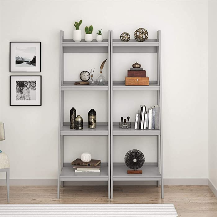 Ameriwood Home Lawrence 4 Shelf Ladder Bookcase Bundle, Dove Gray
