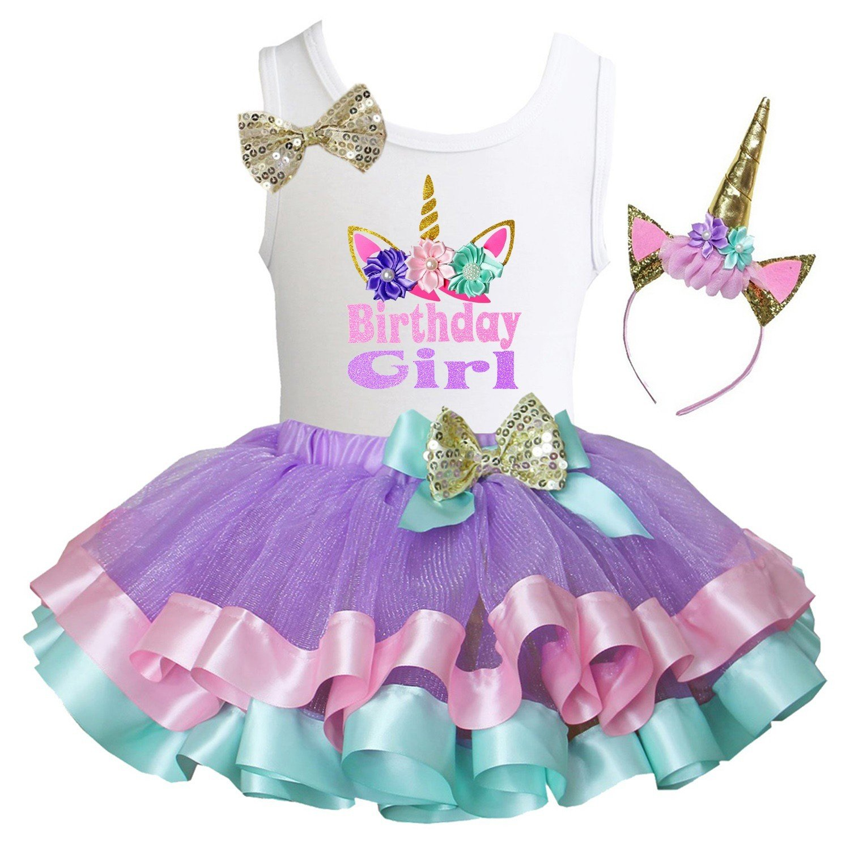 b77334f6c17df Kirei Sui Girls Lavender Pink Mint Satin Trimmed Tutu & Birthday Tee Outfit