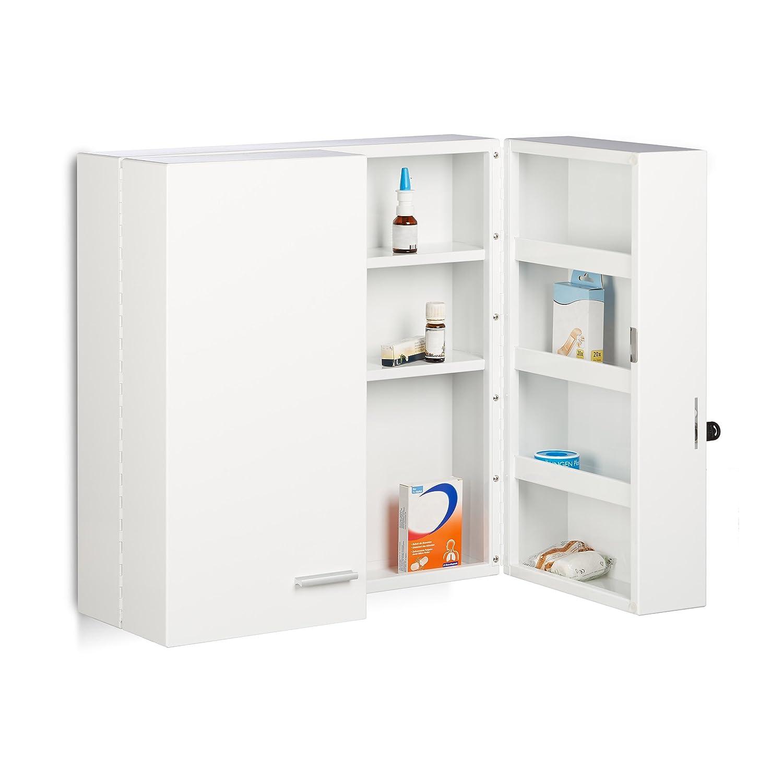 Relaxdays Armoire à pharmacie XXL en métal acier 2 portes fermables blanc 11 compartiments HxlxP: 53 x 53 x 20 cm