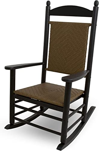 POLYWOOD Outdoor Furniture Kennedy Rocker with Tiger Weave, Black-Recyled
