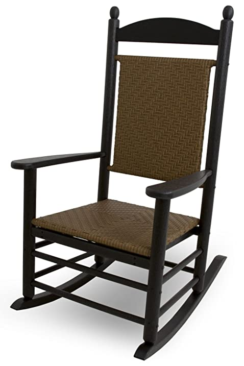 Polywood Outdoor Furniture Kennedy Rocker With Tiger Weave Black Recyled