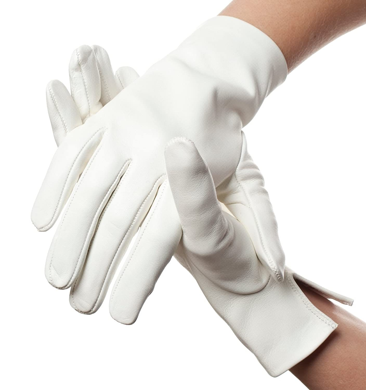 Lundorf Damen Glacé Handschuhe Leder – Weiß – Für Gala, Parade, Hochzeit etc.