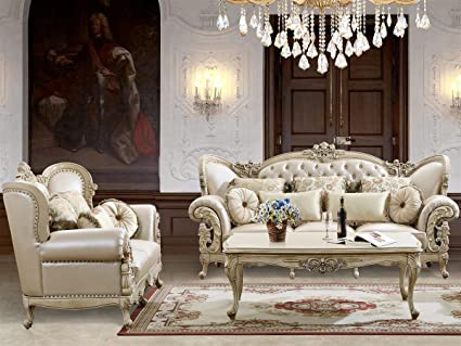 Gianna Leather Sofa And Loveseat In Pearl Cream