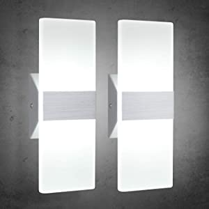 TRLIFE Modern Wall Sconces 12W, Set of 2 LED Wall Sconces 6000K Cool White Wall Sconce Lighting for Hallway Bedroom Bathroom Porch Living Room Basement Stairway Hotel(12W)