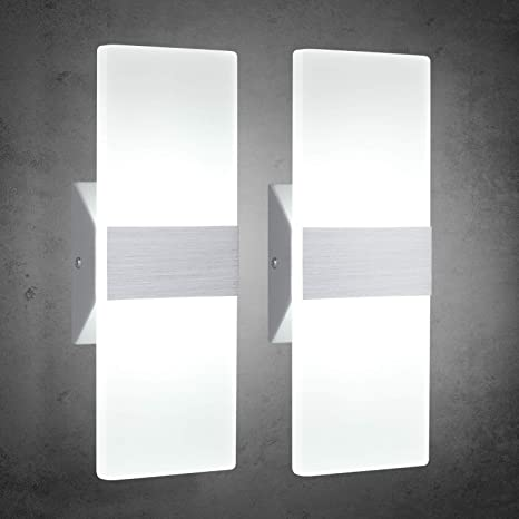 TRLIFE Modern Wall Sconces 12W, Set of 2 LED Wall Sconces 6000K Cool White  Wall Sconce Lighting for Hallway Bedroom Bathroom Porch Living Room ...