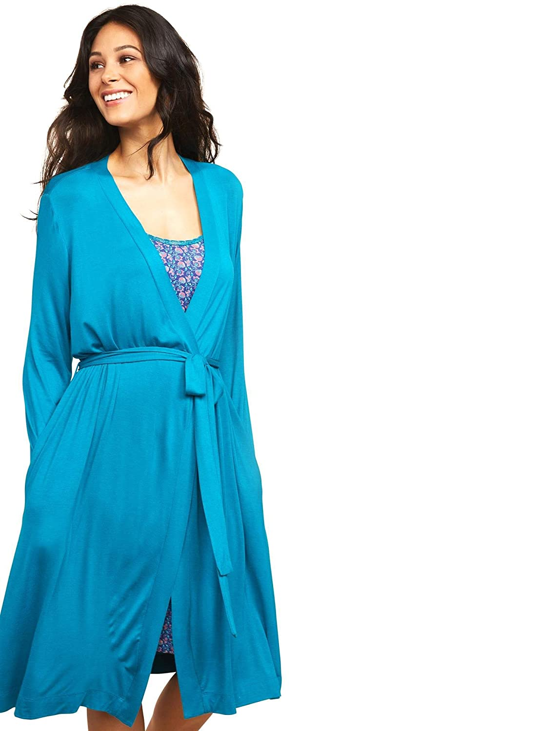 Motherhood Maternity Women's Tie Front Nursing Robe with Lace Trim Sleeve 99241