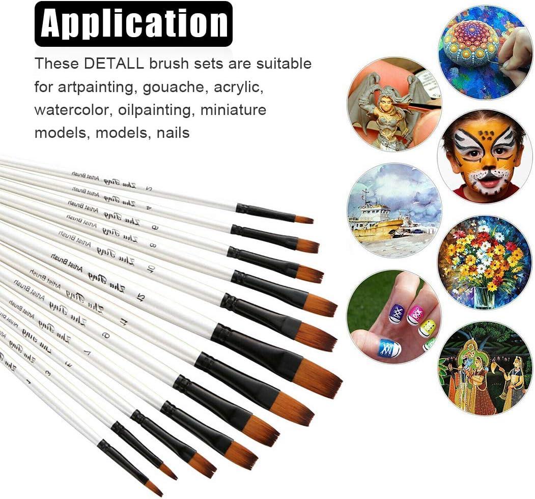 pour Peinture Acrylique Gouache O-Kinee 12 Pinceaux Peinture /à lhuile Pinceaux Ensemble Brosse de Peinture Lot de Pinceau de Peinture /à lhuile ave 1 Palettes