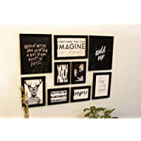 Painting Mantra Art Street Individual Simple Life Theme Gallery Wall Photo Frame Set of 9 - Black