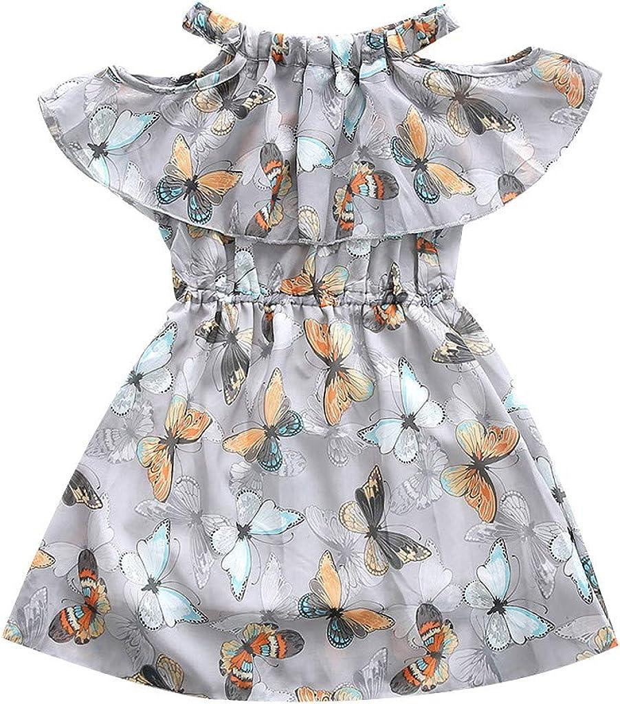 BaZhaHei Abiti da Principessa off Shoulder Bambini Bambino Ragazza Stampa Ruffler Vestiti Casuale Abito da Festa Senza Maniche Vestito Estivo per Compleanno Club