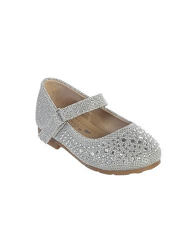 62878f12f007e Little Girls Silver Sparkling Rhinestone Metallic Mary Jane Shoes 5 Toddler