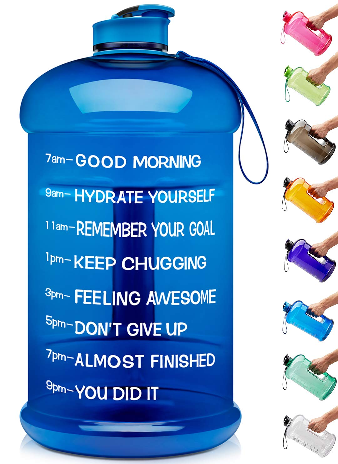 Venture Pal Large 1 Gallon/128 OZ & 74 OZ Motivational Leakproof BPA Free Water Bottle with Time Marker Perfect for Fitness Gym Camping Outdoor Sports-1Gallon-Blue