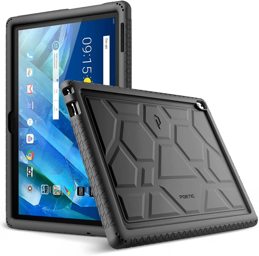Lenovo Moto Tab Case, Poetic TurtleSkin Series [Corner/Bumper Protection][Grip][[Bottom Air Vents] Protective Silicone Case for Lenovo Moto Tab (X704A)/Lenovo Tab 4 10 Plus Tablet - Black