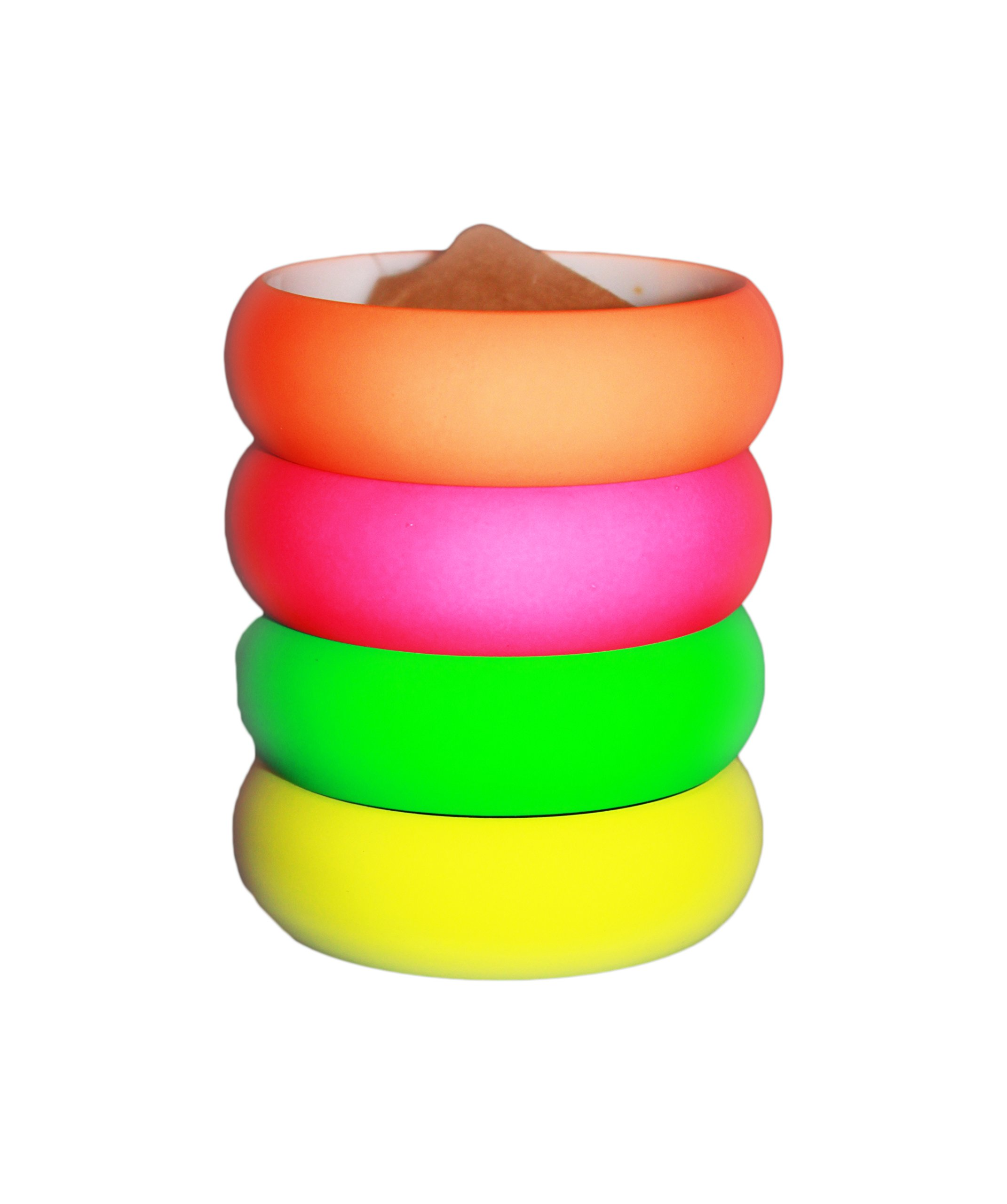 Neon Nation 4 Pack 1980s Style Costume Bracelets 1'' Soft Bangles