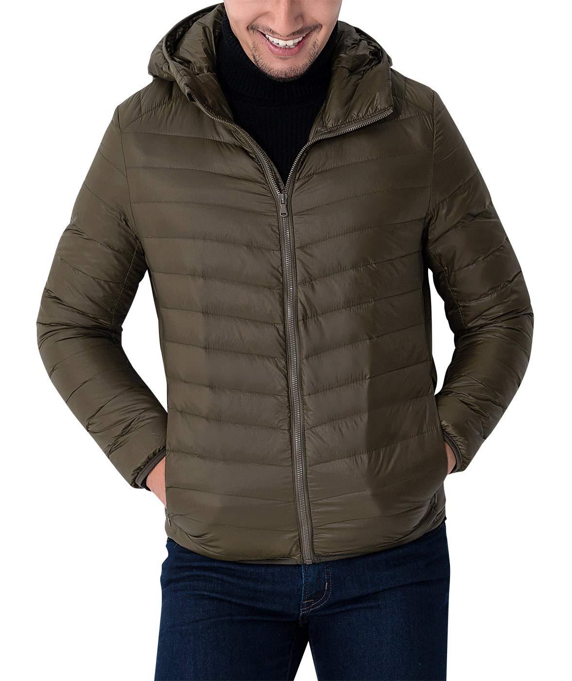 AIEOE Mens Winter Sportwear Down Hoodie Coat Packablee Down Puffer Jacket Outerwear Blue 4XL