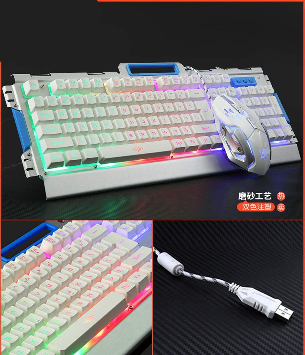 XIAZI Mechanical Keyboard and Mouse Cable Set Feel USB Back Game,black1