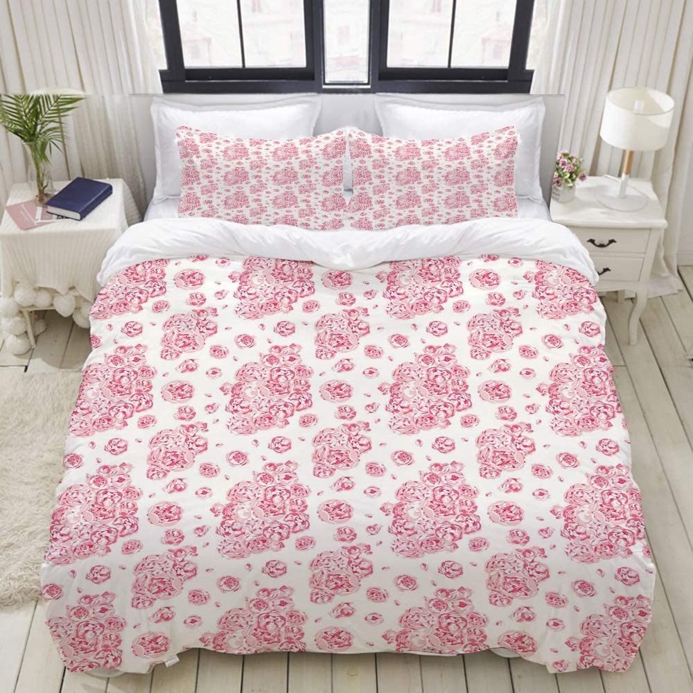 """ALLMILL Duvet Cover Twin Size Coral Peonies English Roses Print 3pc Bedding Set (1 Duvet Cover and 2 Pillow Shams) 68""""x86"""""""